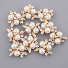10pcs Rhinestone Pearl Flower Embellishments Buttons for Head Band Hair Clip