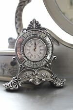 Silver French style Mantel table Clock Baroque Classic Resin Christmas Mirrored