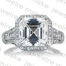 Certified 5.00ct White Asscher Cut Diamond Halo Engagement 14K White Gold Ring