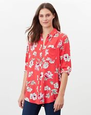 Joules Womens Elvina Button Front Woven Top - Red Floral
