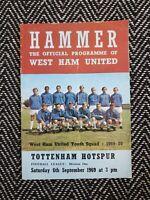West Ham v Tottenham Spurs 1969 Programme 23/8/69! FREE UK POSTAGE! LAST ONE!