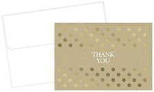 Gold Foil Kraft Thank You Note Cards & Envelopes - 50 Cards & Envelopes
