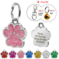 Glitter Paw Print Pet ID Tags Custom Engraved Dog Cat Personalized Tag Disc Bell