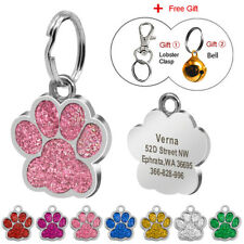 Glitter Pet Tags Engraved Cat Personalized Name Tag Paw Print Disc with Bell