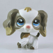 #2254 Rare Littlest Pet Shop white grey Cocker Spaniel Dog Blue Eyes Animal LPS