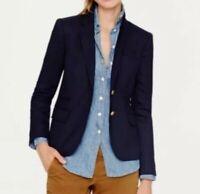 J. Crew Keating Boy Blazer Womens Size 8 Navy Blue Wool Blend Gold Button EUC