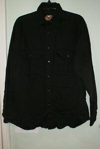 Vintage Men Black Harley-Davidson Heavy Duty Long Sleeve Button up shirt-Medium