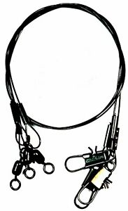 South Bend Wire Nylon Coated Black Leaders w/Snap & Swivel -12-inches 30 lb test