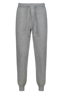 MENS PYJAMA BOTTOMS CUFFED HEM HANES S-2XL LOUNGE PJ PANTS JOGGER STYLE GREY NEW