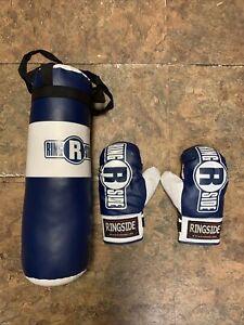 Ringside Youth Kids Boxing Kit Training Bag Set Punching Bag Gloves Blue