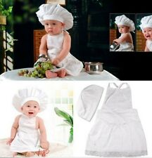 FD869 Baby White Cook Costume Photos Photography Prop Newborn Infant Hat Apron
