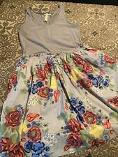 matilda jane gray floral dress with pockets size S