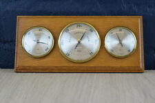 VINTAGE GERMAN FISCHER WALL MOUNTED WOODEN BAROMETER THERMOMETER HYGROMETER