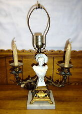 Antique Candelabra Electric Table Lamp w/ Bust