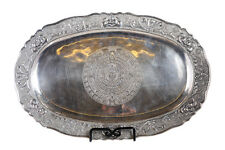 "Peruvian 925 Sterling Silver Antique 19"" Oval Tray w/Elaborate Etchings"