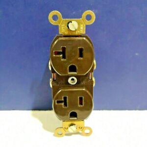 Leviton BROWN Heavy Duty Self Grounding Duplex Recep 2-Pole 3-Wire 5362 NEW