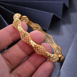 Gold Bangle Handmade 18K Gold Plt Dubai Ethnic Open Bracelet Design Safety Lock