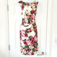 Phase Eight Ruched Drape Floral Pencil Dress Size UK 12 14 Cream Pink
