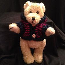 "Teddy Bear Hugfun Beige Stuffed Plush Poseable Jointed Sweater  9"" Toy 1998"