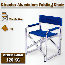 Directors Aluminium Folding Chair Camping Picnic Director Fishing Foldable Blue