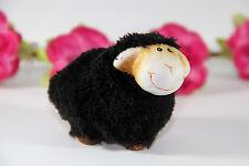 Deko Schaf aus Ton mit Fell in schwarz  (ca. 6,5cm)