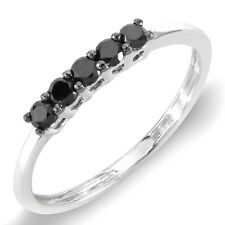 0.37 Ct 10K White gold Round Black Diamond Ladies Anniversary Wedding Band Ring