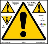 4 Inch, Safety Warning Symbol Caution Helmet Decals Stickers. 4 Count, 3 Sizes.