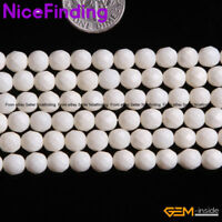 """Natural Faceted White Coral Round Stone Beads For Jewelry Making Loose Beads 15"""""""