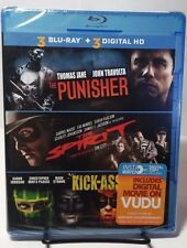 The Punisher/The Spirit/Kick-Ass(Blu-ray Disc + HD UV Codes, 2014)NEW-Free S&H