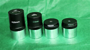 """A set of 4 Kellner 1.25"""" Eyepiece for Telescopes 4mm, 6mm, 15mm and 25mm BN"""