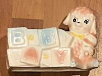 Napco or Lefton? Planter Ceramic Baby Lamb Blocks Nursery Decor Shower Vintage