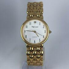 Vintage Oleg Cassini Mens White Dial Gold Tone Band Quartz Analog Watch