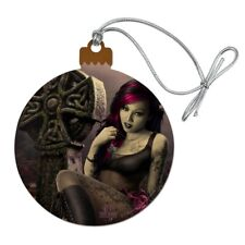 Goth Girl Dressed in Black Tattoos Wood Christmas Tree Holiday Ornament