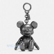 New Disney X Coach F59152 Mickey Bag Charm Pebble Leather Black NWT