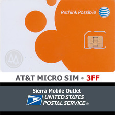 AT&T MICRO 3FF SIM Card • GSM 4GLTE • NEW Genuine OEM • Prepaid or Contract