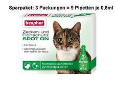 SPARPAKET: 3 x SPOT-ON ZECKEN- und FLOHSCHUTZ f. Katzen = 9 Pipetten je 0,8ml