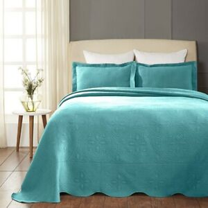 Superior Scalloped Bedspread Celtic Circles Design Peacock Blue 3-pc Full Cotton