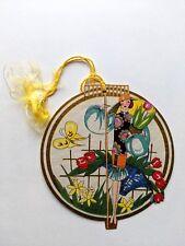 Vintage Bridge Game Tally -- Beautiful Woman in Garden w/ Flowers Butterfly