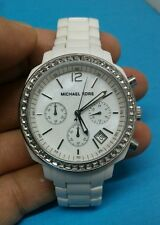 MICHAEL KORS Women's White Runaway Chronograph WATCH MK5079 new Battery