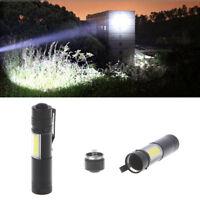 12000LM XPE Q5 +COB LED Flashlight 14500/AA 4 modes Pocket Clip Torch Light Mini