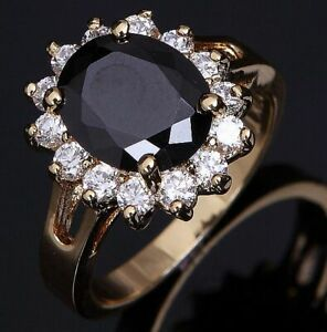 Gorgeous Rings For Women Size 9 Promise Black Sapphire 18K Yellow Gold Filled
