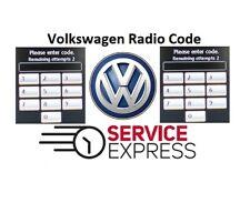 VW Volkswagen Radio Code Unlock Stereo Code RCD 310 300 200 210 RNS 315 PIN CODE