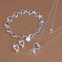 New 925 Sterling Silver Plated Heart Chain Bracelet Earring Necklace Jewelry Set