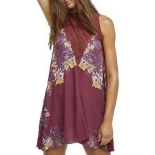 Free People Womens Marsha Red Floral Print Lace-Inset Mini Dress XS BHFO 7592