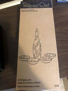 Pampered Chef Oil Dipping Set # 2310 Cruet Bottle,  4 Bowls, Spout, Ceramic