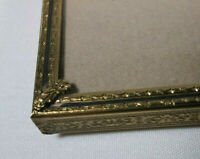 "Vintage Brass Embossed Detail Photo Picture Frame 7.5 x 10"" Green Felt Backing"