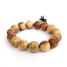 15mm Wood Taoist Taiji 8-Diagram Word Beads Tibet Buddhist Prayer Bracelet Mala