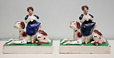 Rare Antique c19th Staffordshire figure paire, fille assise sur IRISH SETTER & Colombe