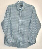 Van Heusen Button Up Dress Shirt Mens XL Sz 17.5 34/35 L/S  Aqua White Plaid EUC