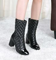 Womens Ladies Real Leather Round Toe Mid Calf Riding Boots Heels Shoes Zip G227